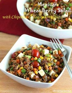Mexican Wheat Berry Salad with Chipotles and Toasted Walnuts #wheatberry #wheat #wheatlovers #wheatgrass #wheatberries #farming #healthy #homegrown #Farm #wheatrecipes #food #foodie #healthylifestyle #healthyeating Wheat Berry Recipes, Wheat Berry Salad, Fresco, Canned Carrots, Tomato And Cheese, Grain Foods, Healthy Salad Recipes, Diabetic Recipes, Vegetarian
