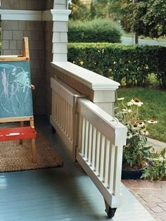 Add a front porch rolling gate to stop the dog from running out while you're sitting on the porch.