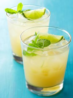 Pisco Sour Drink ~ This cool cocktail gets a burst of fresh flavor from lime and mint. For a nonalcoholic version, replace the pisco with sparkling water. Refreshing Summer Cocktails, Cocktail Drinks, Fun Drinks, Yummy Drinks, Cocktail Recipes, Sour Cocktail, Beverages, Champagne Cocktail, Sangria Recipes