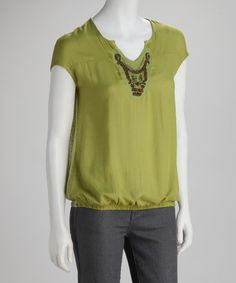 Take a look at this Lime Beaded Top by Simply Irresistible on #zulily today!
