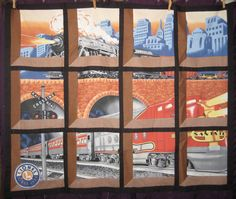 Lionel Train Attic Window Quilt Top City Santa Fe Trains unfnshd project 45.5x37