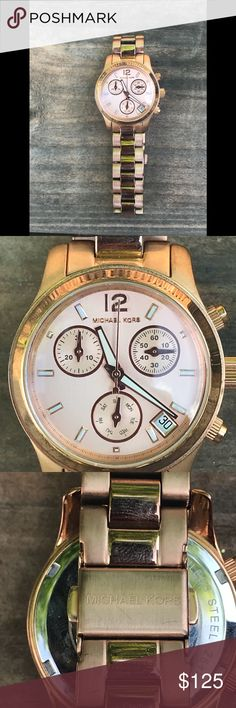 Authentic Michael Kors Rose Gold Watch Michael Kors rose gold bracelet watch. Minor scuffing from everyday use but still in excellent condition. All links are intact and can be removed to make it smaller. Needs new battery Michael Kors Accessories Watches