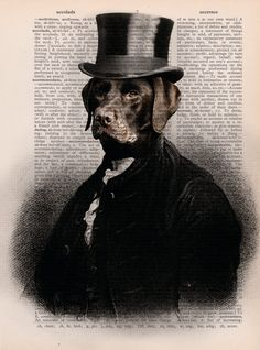 Dictionary Page Print: Gentleman Labrador with by PrintsofRogues