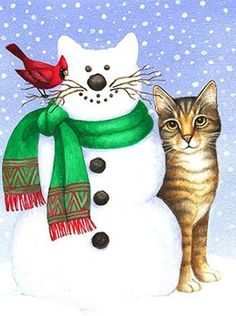 Snowcat by Stephanie Stouffer Illustration Noel, Christmas Illustration, Illustrations, Christmas Animals, Christmas Cats, Christmas Puzzle, Xmas, Crazy Cat Lady, Crazy Cats