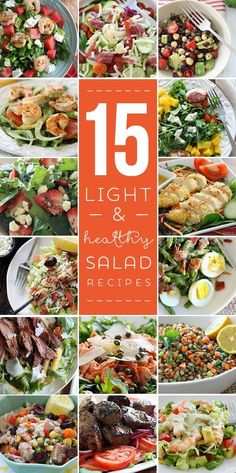 Spring is here, which usually means less comfort foods and more crave-worthy salads. But salads can often have more calories than you think! Here is a roundup of my favorite 15 Light and Healthy Salads that are far from boring!    Asparagus Egg and Bacon Salad with Dijon Viniagrette –  I love the combination of this simple salad of asparagus, hard boiled egg and bacon tossed with a Dijon vinaigrette – it has Spring written all over it!     Grilled Shrimp Avocado Fennel and Orange Salad –…