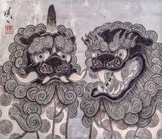 阿吽像図-狛犬ト獅子- 45.5×53.0cm 2016
