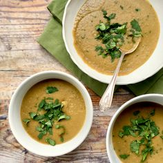 This Thai green lentil soup recipe is quick, easy and delicious. Perfect for curling up with on a warm summers evening. Vegetarian, gluten free, vegan, dairy free.