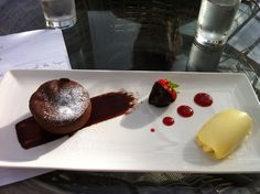 Chocolate melt in the middle fondant with Cornish Clotted Cream - Courtesy of Head Chef Simon George of the Carbis Bay Hotel