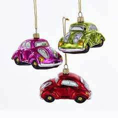 Kurt Adler 1 Set 3 Assorted Volkswagen Beetle Glass Ornaments => To view further, visit now : Christmas Decorations