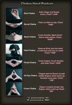 Chakra Hand Postures -- these mudras and bijas (seed sounds) have real physiological basis--I learned these today in yoga and completely work! Ayurveda, Yoga Kundalini, Yoga Meditation, Healing Meditation, Meditation Hand Positions, Pranayama, Yoga For Chakras, Gaia Yoga, Indian Meditation