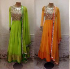 Beautiful mirror work floor length anarkali. Only at www.gujaratidresses.com
