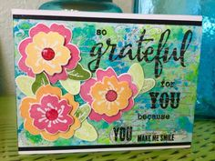 CREATE EVERYDAY: Watercolor, die cut, embossed Greatful card. I emb...