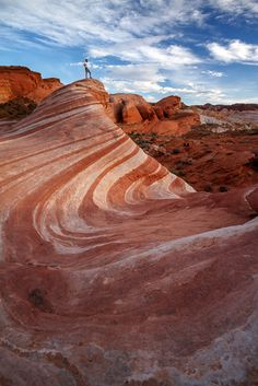Fire Wave, Valley of Fire, Nevada - there's me standing on the peak. What an awesome place. #LoveYourRV