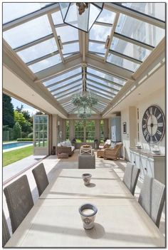 by Vale Garden Houses Interior view of a bespoke orangery with extension glazed roof light.Interior view of a bespoke orangery with extension glazed roof light. Patio Interior, Home Interior Design, Interior Ideas, Luxury Homes Interior, Interior Inspiration, Design Inspiration, Conservatory Decor, Conservatory Interiors, Gazebos