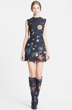 Valentino Cosmos Print Wool Blend Crepe Shift Dress available at #Nordstrom