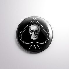 "Ace Of Spades Skull - 1"" Pinback Button - Motorhead Lemmy Kilmister"
