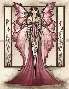 """""""Dusty Rose"""" ORIGINAL ART - Watercolor Paintings Q - Z - Amy Brown Fairy Art - The Official Gallery:"""