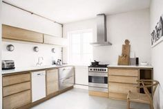 Danish Kitchen with Natural Wood Cabinetry.