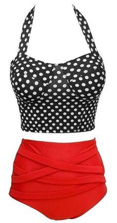Dots Print High Waist Bikini Set