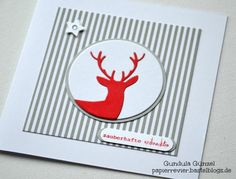 christmas card with deer #deer red grey white stribes - karte weihnachten Roter Hirsch 3b