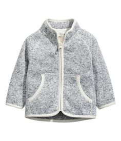 Gray. Knit jacket in soft, thermal fleece with a stand-up collar, zip at front, and front pockets.