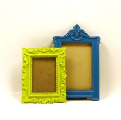 ornate picture frames, eclectic, painted frames, lime green, teal blue, fall home decor, modern victorian, regency. $22.00, via Etsy.