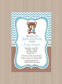 Teddy Bear Baby Shower Invitation by Honeyprint on Etsy