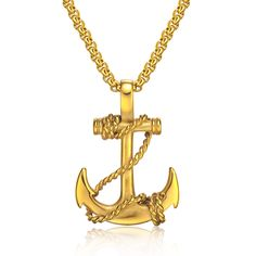 VOGEM Men's Gold Anchor Necklace Pendants For Women Men Stainless Steel Chain Pirate Metal Silver Black Jewelry Boyfriend #Affiliate