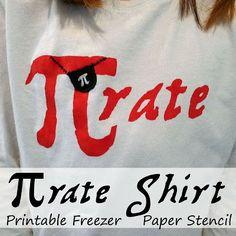 Pi-rate (pirate) Shirt - Freezer Paper Stencil Pattern