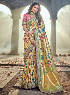 Golden Banarasi Silk Patch Lace Work Saree 121798