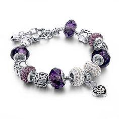 WAYA Argent Charms Bleu Wite Synth/étique Cristal Star Europ/éenne Perles Pour Pendentif Collier Bracelets