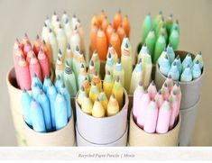 recycled paper pencils. Instead of wood, the graphite is wrapped tightly in paper.