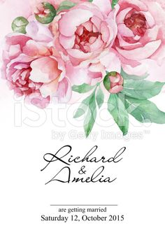 Watercolor wedding invitation card with peonies royalty-free stock illustration