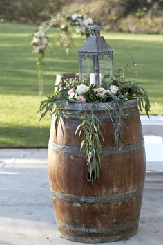 Fun and Creative Wine Barrel Wedding Decorations. - garten, Awesome 25 Fun and Creative Wine Barrel Wedding Decorations Wedding Lanterns, Wedding Ceremony Decorations, Wedding Centerpieces, Arch Wedding, Wedding Ideas, Wedding Aisles, Wedding Backdrops, Wedding Ceremonies, Wedding Colors
