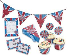 Union Jack printables! Cupcake cases, bunting, place cards and invites by SJ Dowsett | Papercraft inspirations