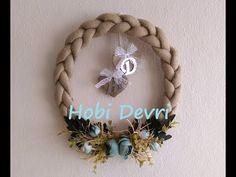 DIY,Easy Door Decoration,Braided Burlap Wreath-Kapı Bandından,Hasır Örgü Kapı Süsü Yapılışı - YouTube