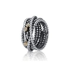 PANDORA   Gewickelter Metallperlen-Ring mit Diamant