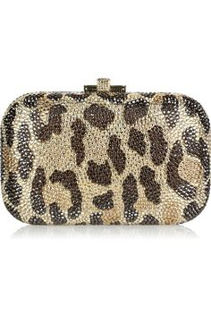 Judith Leiber Fish fine crystal-embellished clutch This Judith Leiber clutch bag has a gold chain-link handle that can be hidden inside the bag, a design Extreme Metal, Motif Leopard, Leopard Prints, Leopard Clutch, Cheetah, Vestidos Animal Print, Animal Print Fashion, Animal Prints, Beaded Bags