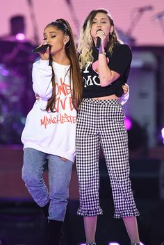 Ariana Grande and Miley Cyrus sing together at the One Love Manchester Concert