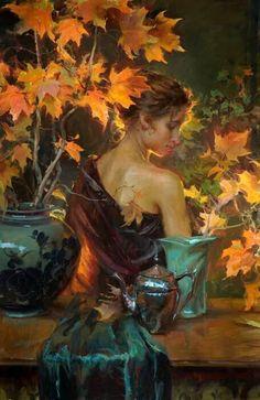 Gerhartz, Daniel F (b,1965)- Standing Woman Among Flowers, In