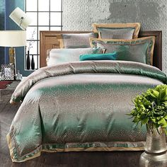 4/6pcs Embroidered Home Textile Jacquard quilt cover set king queen Green Satin bedclothes bedding sets bed linen pillowcases