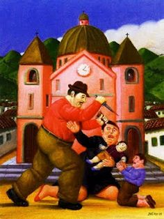 Slaughter of the Innocents. Fernando Botero often paints fat and exaggerated figures, as well as the tough live in the streets of Colombia. Botero is an abstract artist in the most fundamental sense, choosing colors, shapes, and proportions based on intuitive aesthetic thinking.