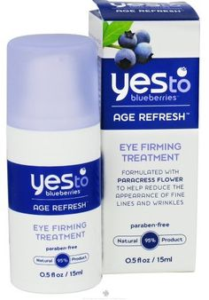 Yes To Inc Yes to Blueberries Eye Firming Treatment -- 0.5 fl oz by Yes To Inc. $13.00. Yes To Inc. Yes to Blueberries formulations naturally blend anti-oxidant rich fruits with special ingredients to help fight the signs of aging. Yes to Blueberries formulations naturally blend anti-oxidant rich fruits with special ingredients to help fight the signs of aging. The collection features products that help improve skin firmness, protect skin, diminish fine lines and wrinkles ,and ...