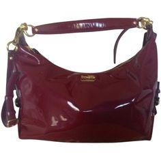 Pre-owned Coach Hailey Madison Patent Leather Hobo Bag ($160) ❤ liked on Polyvore featuring bags, handbags, shoulder bags, orchid red plum pink, shoulder strap bag, crossbody handbags, pink shoulder bag, long strap purse and hobo crossbody