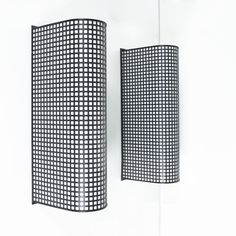 Lucite Set of 3 Wire Mesh Grid Wall Lights Post-Modern, Italy
