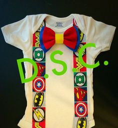 Super hero first birthday bodysuit smash cake double bow tie suspenders by: Deepsouthcrafting find me at Etsy.com