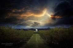 Shocked back into the work week!  I typically don't share these types of photos that I work on.  This is a composite image that I created for fun in the spirit of Halloween.  I took the photo in the farmlands of Cumberland County Southern New Jersey earlier this year and I added in a threatening sky.  I'm a fan of surreal art I hope you enjoy it!