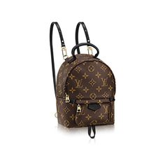 Palm Springs Backpack Mini ($1,510) ❤ liked on Polyvore featuring bags, backpacks, monogrammed backpacks, canvas rucksack, canvas backpack, mini bag and brown canvas backpack