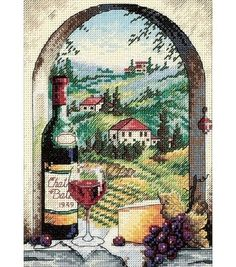 Kit contains 18 count ivory Aida fabric, stranded cotton, needle, chart and instructions Finished size 5 x 7 Half cross stitches are used in this design for artistic effect. Grapes, wine and cheese si
