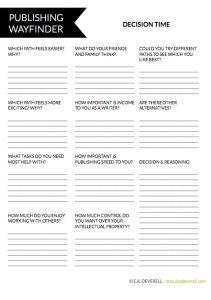 Trying to decide between self-publishing, traditional publishing or hybrid publishing? This writing worksheet can help!
